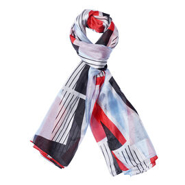 DOD - LA MAREY 100% Mulberry Silk Stripe and Geometric Pattern Scarf - Red and Blue