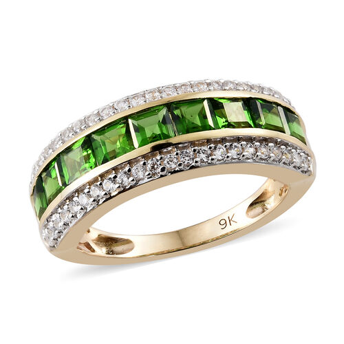 2.59 Ct AAA Russian Diopside and Natural Cambodian Zircon Half Eternity Ring in 9K Gold