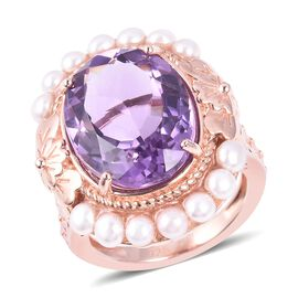 11 Ct Rose De France Amethyst and Freshwater Pearl Halo Ring in Rose Gold Sterling Silver