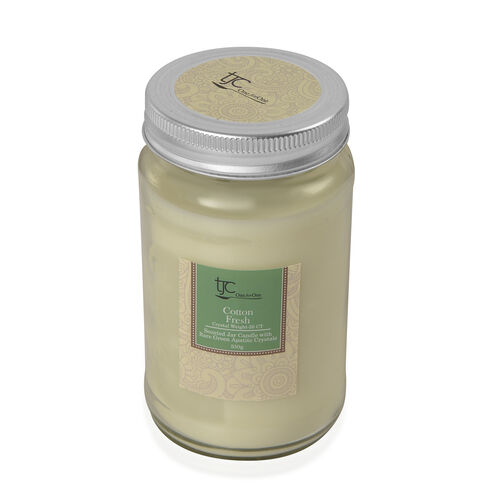 Cotton Fresh Scented Mason Jar Glass Candle with Rare Apatite Gemstone (20 CTs)