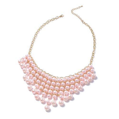 Simulated Pink Pearl (Rnd) BIB Necklace, Hook Earrings and Bracelet  in Yellow Plated.