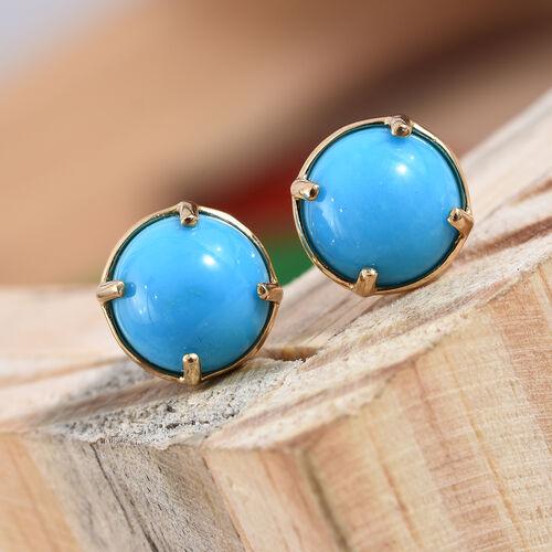 ILIANA 18K Yellow Gold Arizona Sleeping Beauty Turquoise (Rnd 8 mm) Stud Earrings (with Screw Back) 3.700 Ct.