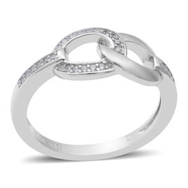 ELANZA Simulated Diamond Interlocked Ring in Rhodium Overlay Sterling Silver