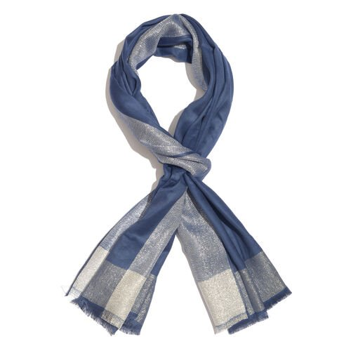 Lurex Bordered Royal Blue Colour Scarf with Tassels (Size 180x70 Cm)