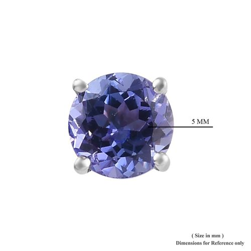 9K White Gold AAA Tanzanite (Rnd) Stud Earrings (with Push Back) 1.00 Ct.