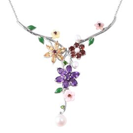 Jardin Collection - Pink and Yellow Mother of Pearl, Freshwater Pearl and Multi Gemstone Enamelled N