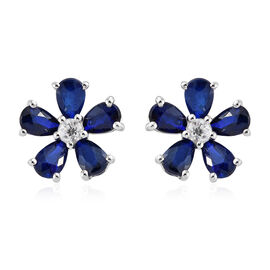 Blue Spinel (Pear), Natural Cambodian Zircon Floral Earrings (With Push Back) in Platinum Overlay Sterling Silver 2.250 Ct.