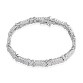 New York Collection Close Out Deal - Diamond (Rnd) Criss Cross Bracelet (Size 7.5) in Silver Plated