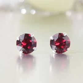 J Francis Crystal From Swarovski - Ruby Colour Crystal Stud Earrings (with Push Back) in Sterling Silver
