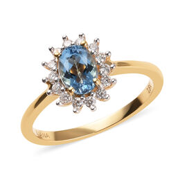 ILIANA 18K Yellow Gold AAA Santa Maria Aquamarine (Ovl 7x5mm), Diamond (SI/G-H) Ring 1.00 Ct.