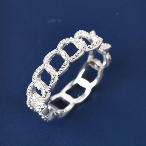 Diamond Curb Band Ring in Sterling Silver