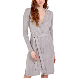 Nova of London Ribbed Long Button Up Cardigan with Tie Wrap in Grey