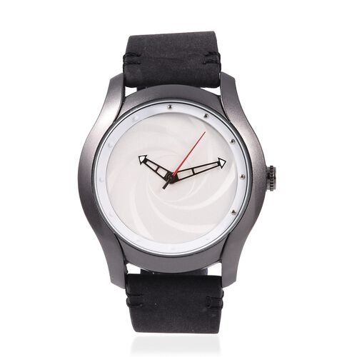 STRADA Japanese Movement Water Resistant White Dial Watch with Black Strap