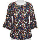 Auburn 3/4 Flute Sleeve Waffle Printed Top (Size L) - Navy - CB 25in