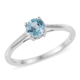 Blue Zircon (0.60 Ct) 9K W Gold Ring  0.600  Ct.