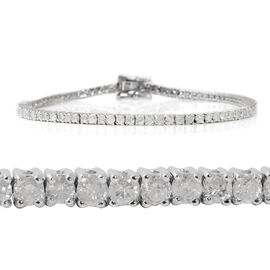 14K White Gold EGL Certified Diamond (Rnd) (I2/G-H) Tennis Bracelet (Size 7.25) 3.01 Ct, Gold wt 7.8