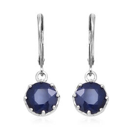 5 Ct Kanchanaburi Blue Sapphire Solitaire Drop Earrings in Rhodium Plated Silver