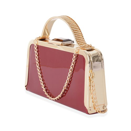 Boutique Collection High Glossed Burgundy Clutch with Crystal Embellished and Removable Chain Shoulder Strap (Size 20x11x4 Cm)