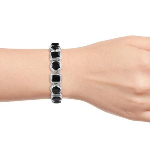 Natural Boi Ploi Black Spinel (Rnd and Oct) Bracelet (Size 8) in Platinum Overlay Sterling Silver 50.000 Ct., Silver Wt. 25.00 Gms