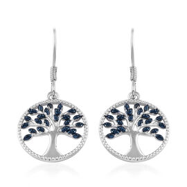 One Time Deal - Blue Diamond (Rnd) Tree of Life Earrings in Platinum Overlay Sterling Silver