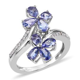 1.65 Ct Tanzanite and Zircon Twin Floral Cross Over Ring in Platinum Plated Silver