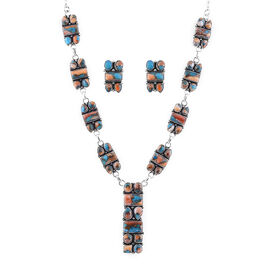 Santa Fe Collection - 2 Piece Set Artisan Crafted Spiny Turquoise Necklace (Size 18-20) and Earrings