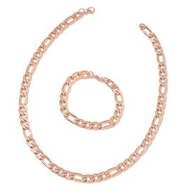 ION Plated Rose Gold Stainless Steel Figaro Necklace (Size 20) and Bracelet (Size 8)