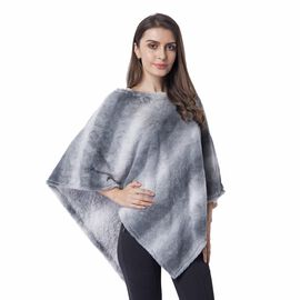 Spring Collection Grey and White Striped Poncho (Size 93x80 Cm)