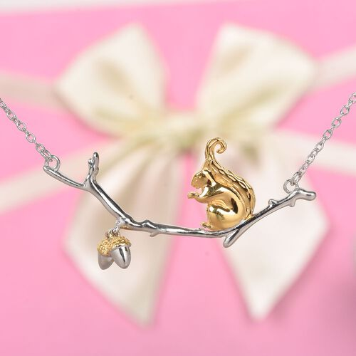 Squirrel with Acorn Nut Necklace (Size 18) in Platinum and Gold Overlay Sterling Silver, Silver wt 6.47 Gms