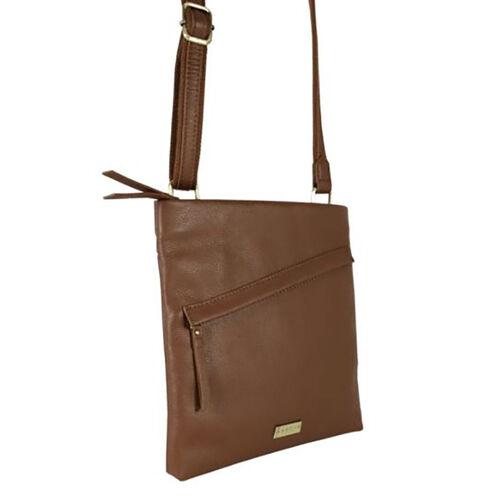 Assots London FLORENCE Pebble Grain Leather Crossbody Sling Bag with Adjustable Shoulder Strap (Size 25x24x2cm) - Tan