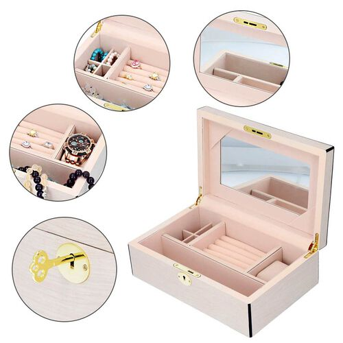 Wooden Jewellery Box with Lacquer Coating, Key Lock, Inside Mirror, 4 Small Section + Ring Rows + Watch Slot + One Long Section (Size 28x18.5x9.5cm) - Off White