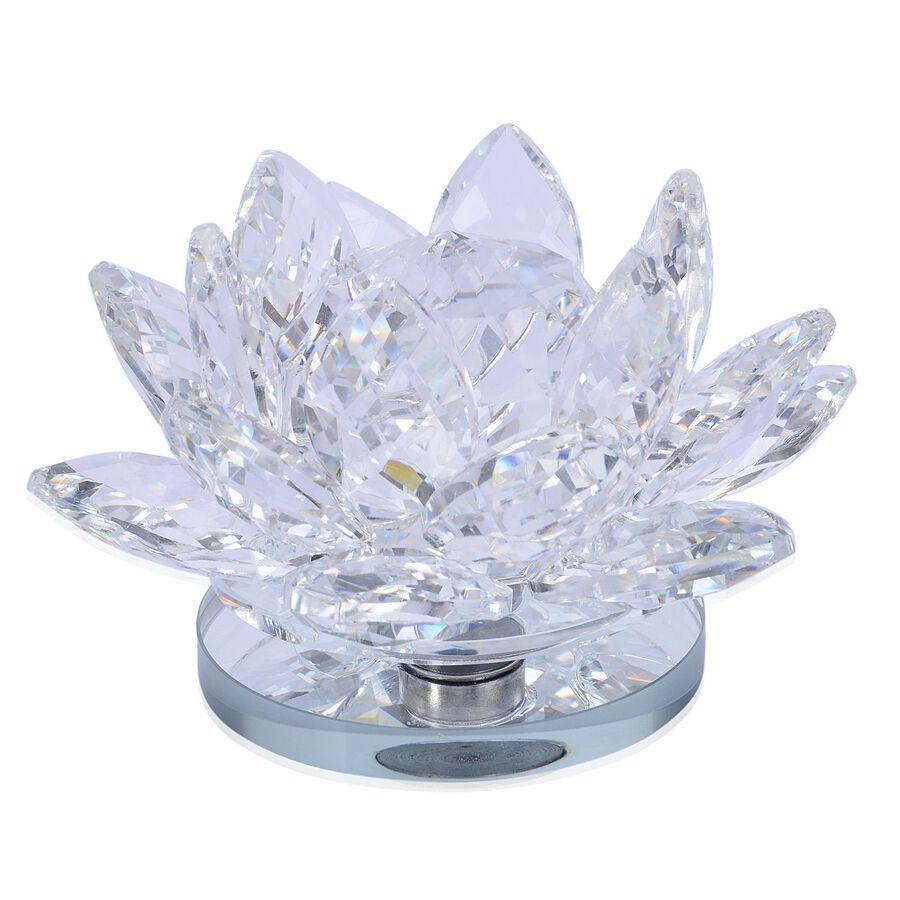 Home Decor White Austrian Crystal Lotus Flower On A Rotating Base