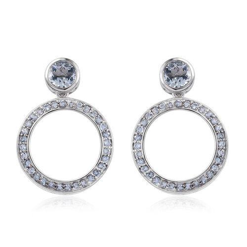 Kimberley Espirito Santo Aquamarine (Rnd) Earrings (with Push Back) in Platinum Overlay Sterling Silver 1.750 Ct.