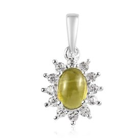 1.25 Ct Italian Vesuvianite and Zircon Halo Pendant in Sterling Silver