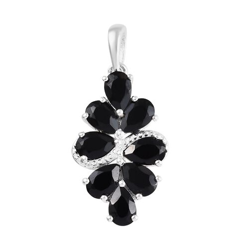 4.25 Carat Boi Ploi Black Spinel Cluster Pendant in Sterling Silver