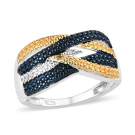 Yellow and White Diamond Crossover Ring in Platinum Yellow and Blue Plated Sterling Silver 3 Grams