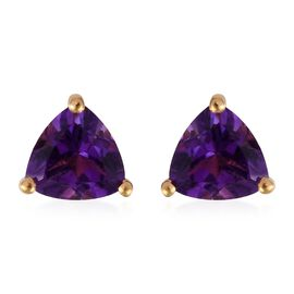 Amethyst (Tri) Stud Earrings (with Push Back) in 14K Gold Overlay Sterling Silver 1.250 Ct.