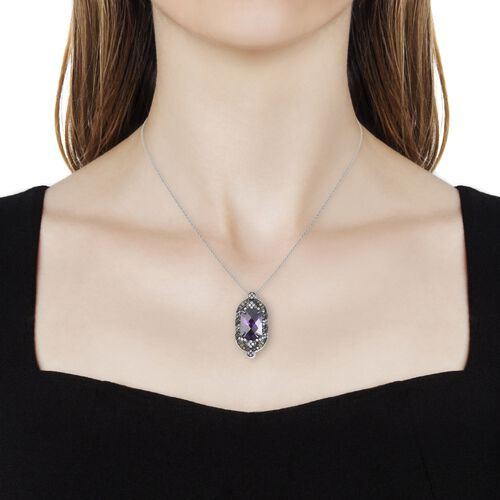 Simulated Amethyst (Cush), Simulated Diamond Pendant With Chain (Size 20) in Two Tone Plated