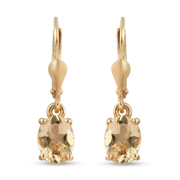 2.25 Ct Citrine Solitaire Drop Earrings in 14K Gold Plated Silver