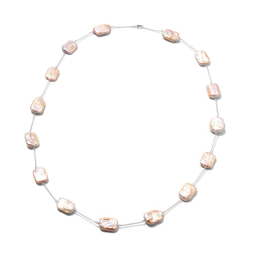 Baroque Pearl Station Necklace in Rhodium Plated Sterling Silver 30 Inch