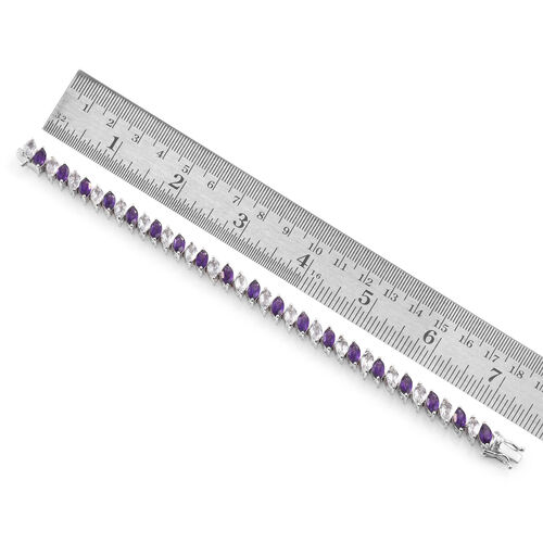 Amethyst (Mrq), White Topaz Tennis Bracelet (Size 7.25) in Platinum Overlay Sterling Silver 21.750 Ct. Silver wt 15.20 Gms.