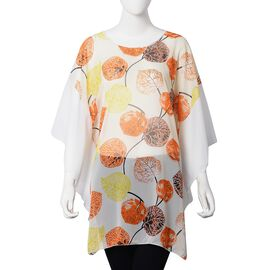 White, Yellow and Multi Colour Leaf Pattern Apparel (Size 80x66 Cm)