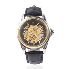 GENOA Automatic Movement Skeleton Water Resistant Watch with Black Leather Strap in Dual Tone