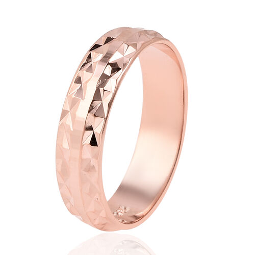 Vicenza Collection Rose Gold Overlay Sterling Silver Diamond Cut Band Ring