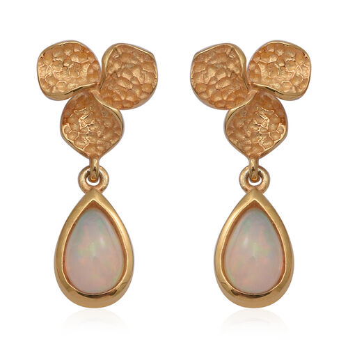 Ethiopian Welo Opal Floral Drop Earrings (with Push Back) in Yellow Gold Overlay Sterling Silver 1.1