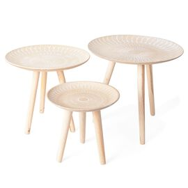 Set of 3 MDF Round Shape Tea Table with Lotus Chakra Pattern in Different Sizes L 44X42 Cm, M 40x36