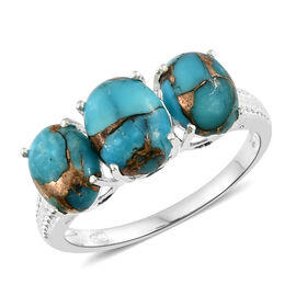 Mojave Blue Turquoise (Ovl 1.80 Ct) 3 Stone Ring in Sterling Silver 4.000 Ct.
