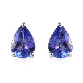 9K White Gold AA Tanzanite (Pear) Stud Earrings (with Push Back) 1.25 Ct.