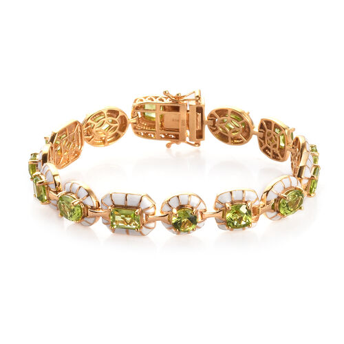 15.54 Ct Hebei Peridot Enamelled Station Bracelet in Gold Plated Sterling Silver 7.5 Inch