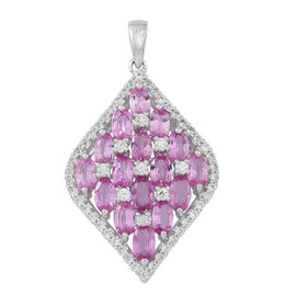 One Time Deal- 9K White Gold Pink Sapphire (Ovl), Natural White Cambodian Zircon Pendant 6.350 Ct, Gold Wt 3.50 Gms